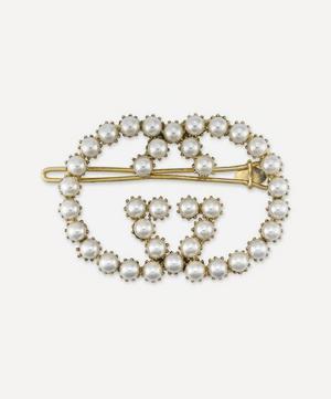 Gold-Tone Faux Pearl Interlocking G Hair Clip