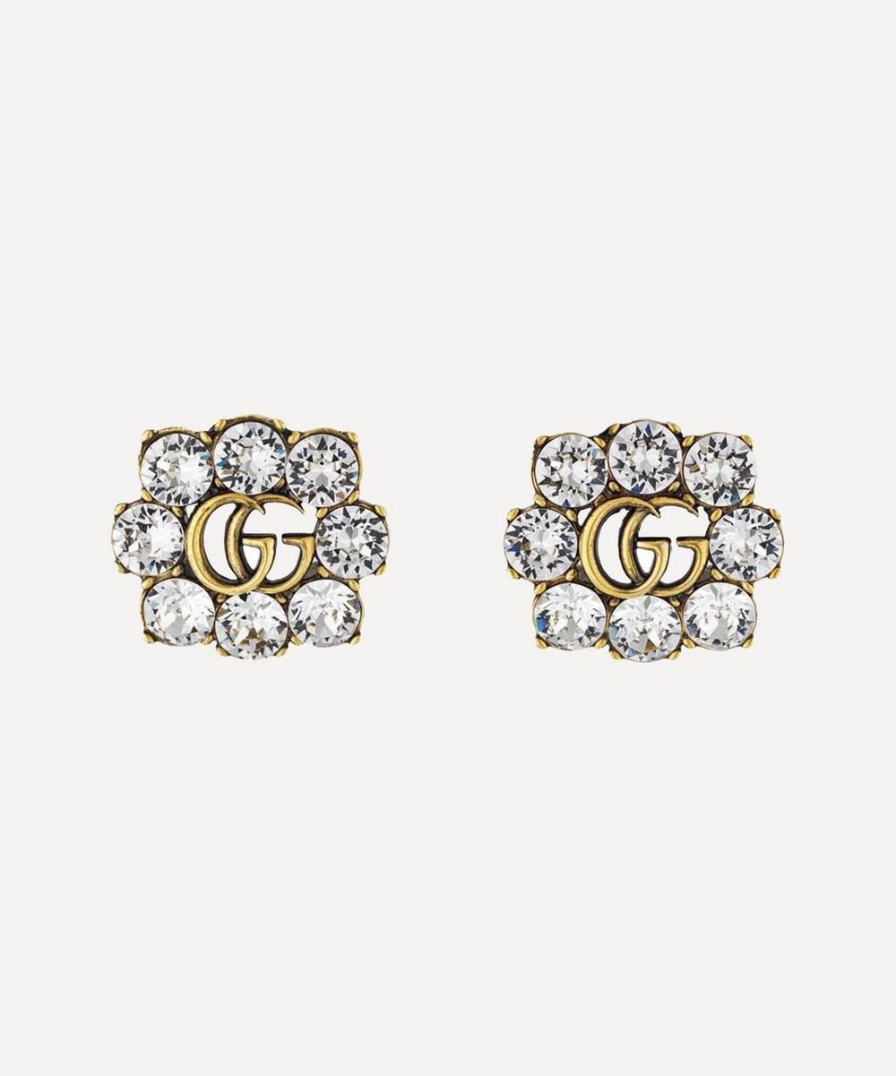 Gucci - Gold-Tone Crystal Double G Clip-On Earrings