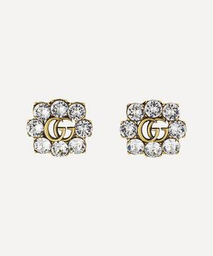 Gold-Tone Crystal Double G Clip-On Earrings