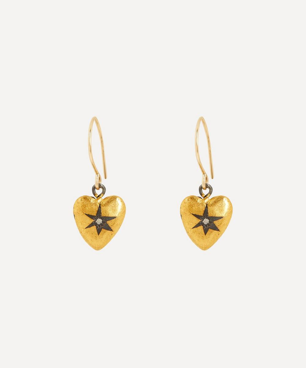 Acanthus - Oxidised Silver Diamond Star Heart Drop Earrings