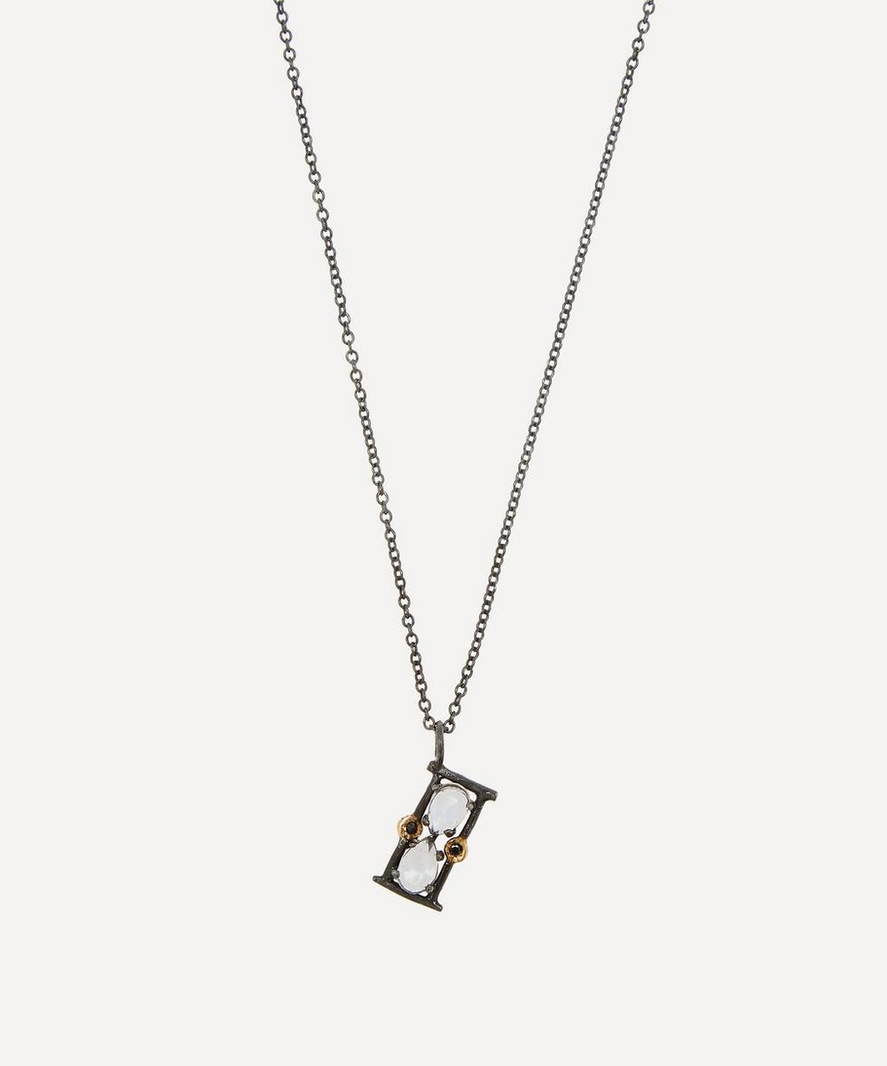 Acanthus - Oxidised Silver Sands of Time Black Diamond and Moonstone Pendant Necklace