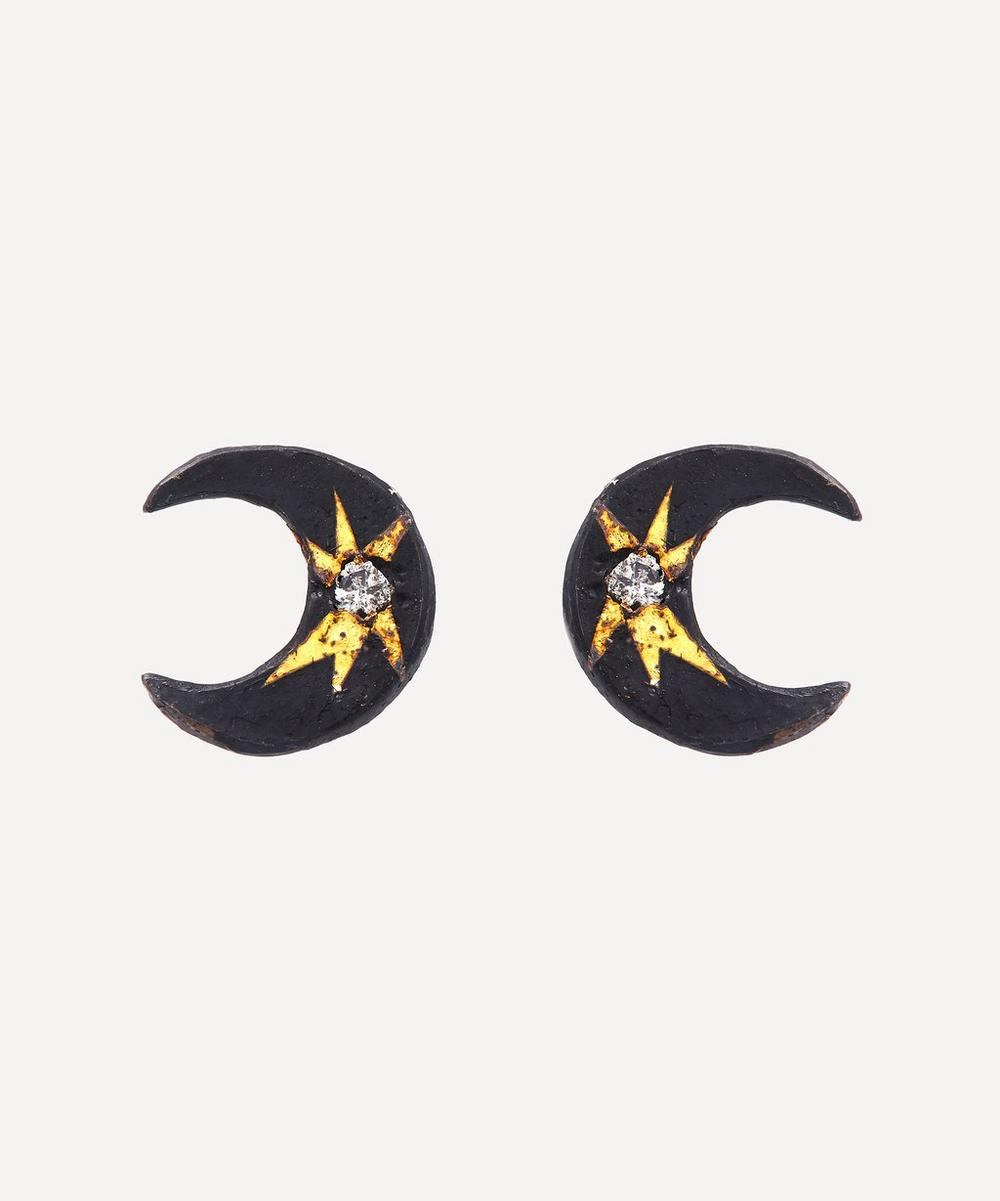 Acanthus - Oxidised Silver Celestial Diamond Star Crescent Moon Stud Earrings