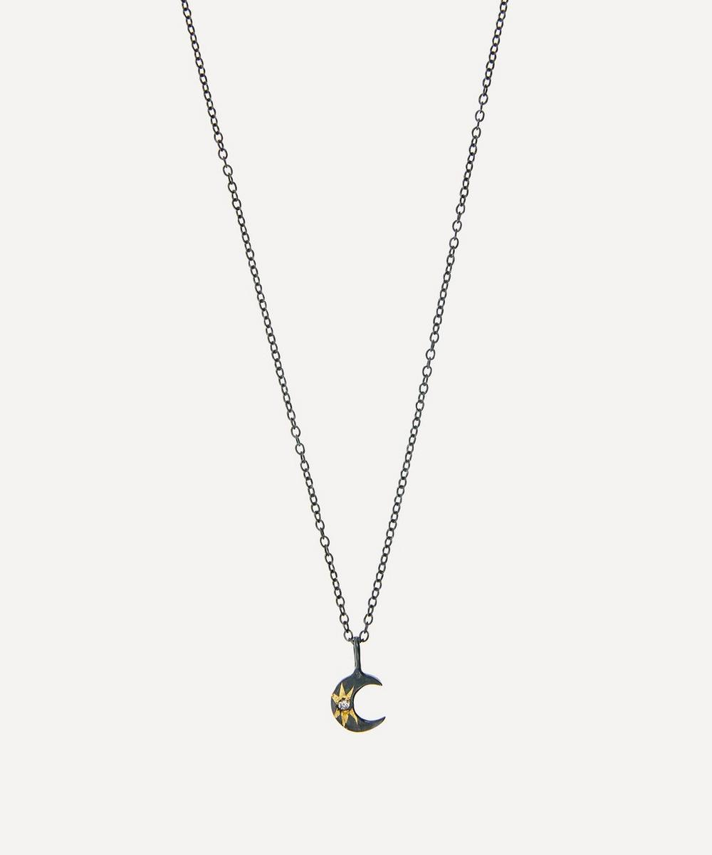 Acanthus - Oxidised Silver Tiny Celestial Diamond Star Crescent Moon Pendant Necklace