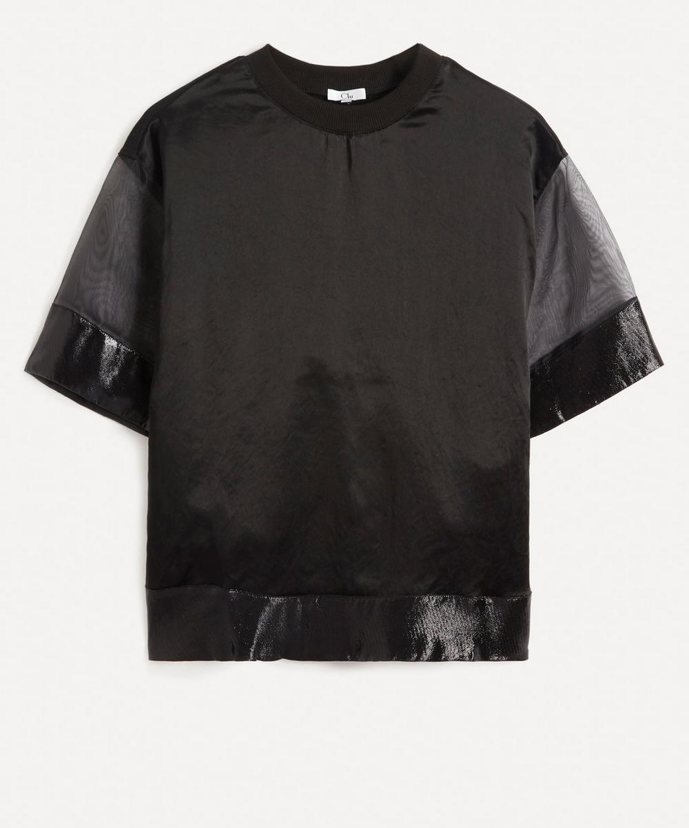 CLU - Sheer-Sleeve Silk-Front T-Shirt