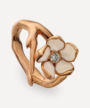 Rose Gold Plated Vermeil Silver Cherry Blossom Diamond Flower Ring
