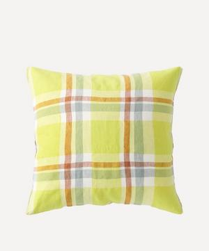 Citron Check Cushion