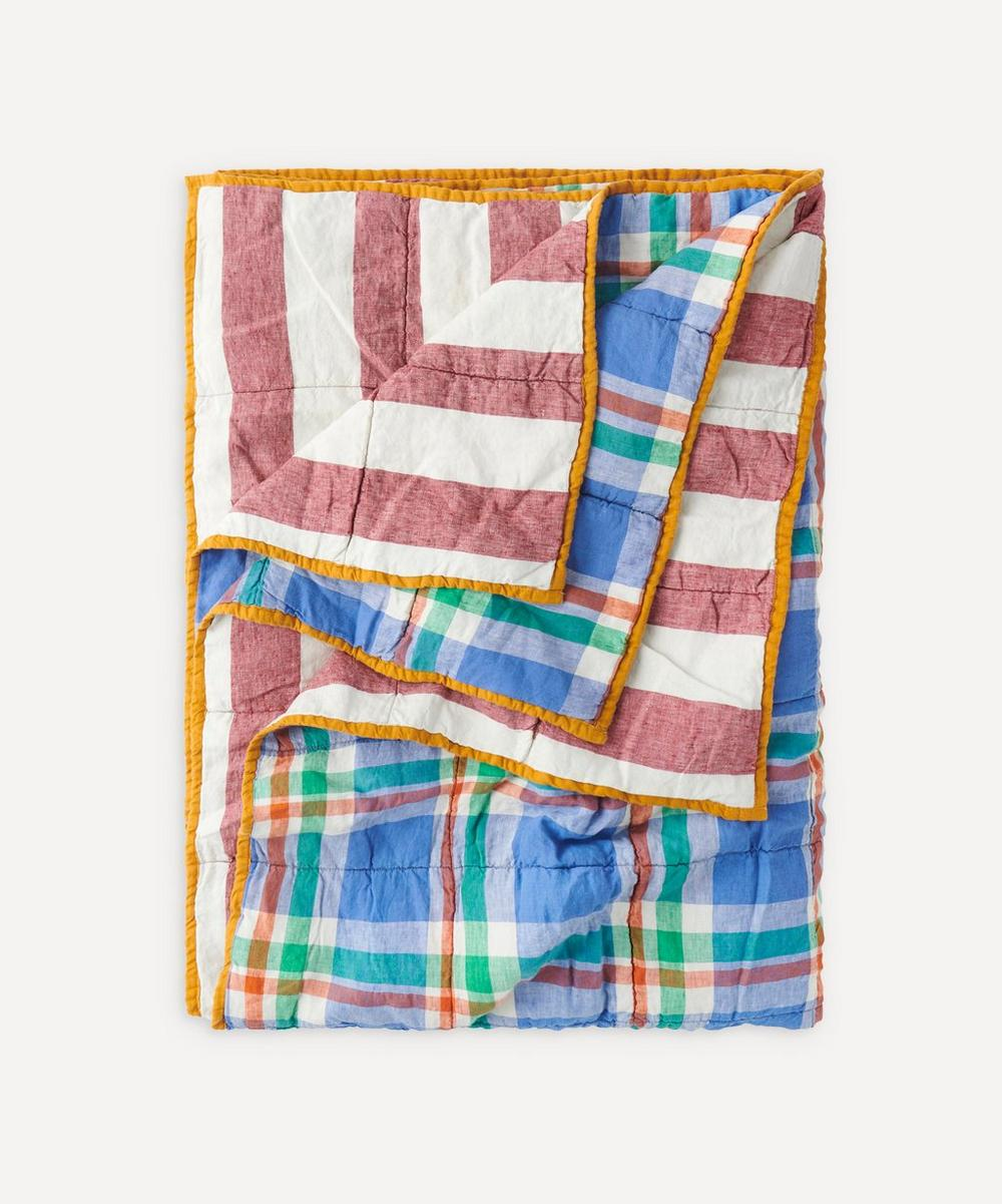 Society of Wanderers - Cornflower Sangria Stripe Double-Sided Standard Quilt