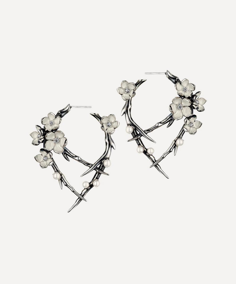 Shaun Leane - Cherry Blossom Pearl and Diamond Flower Hoop Earrings