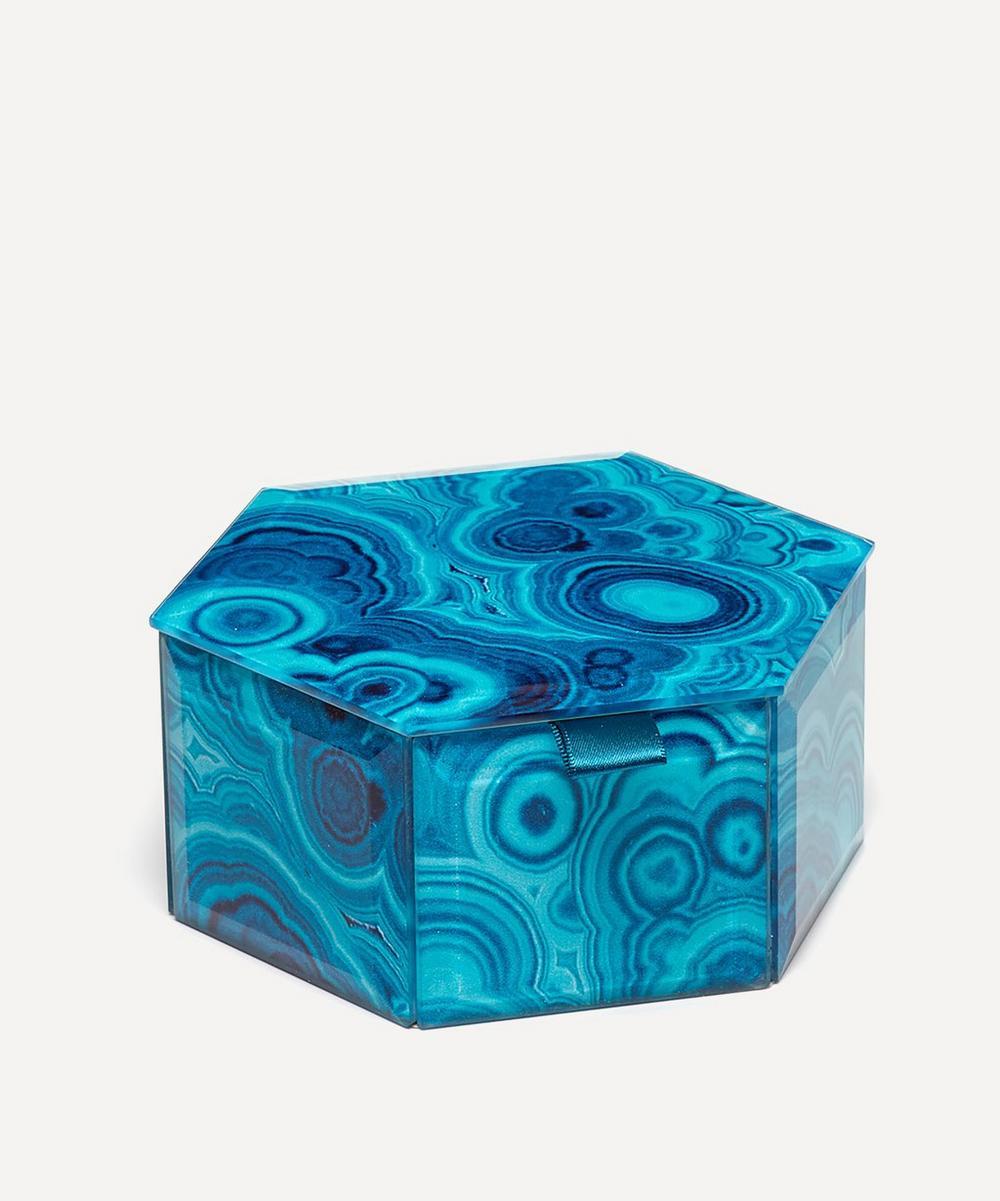 Lola Rose - Bubble Malachite Small Hexagon Treasure Box