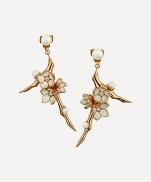 Cherry Blossom Small Pearl and Diamond Flower Drop Earrings