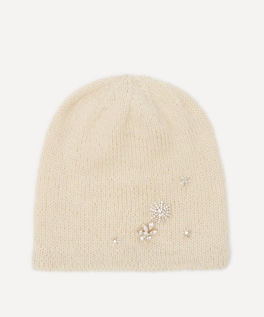 Halo & Co - Starry Night Crystal Flower Wool-Blend Beanie Hat