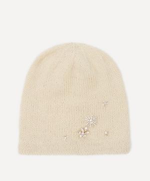 Starry Night Crystal Flower Wool-Blend Beanie Hat