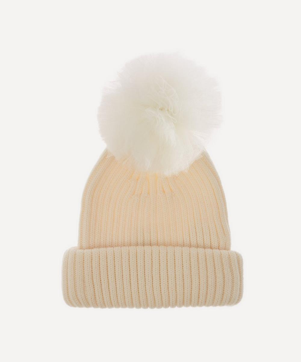 Halo & Co - Tulle Pom Pom Merino Wool Beanie Hat