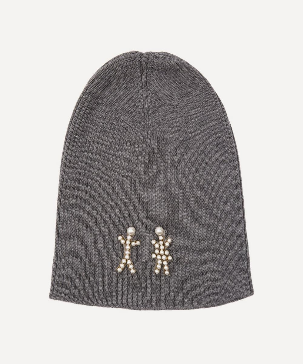 Halo & Co - The Pearl People Crystal Figures Merino Wool-Blend Beanie Hat