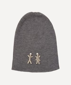 The Pearl People Crystal Figures Merino Wool-Blend Beanie Hat