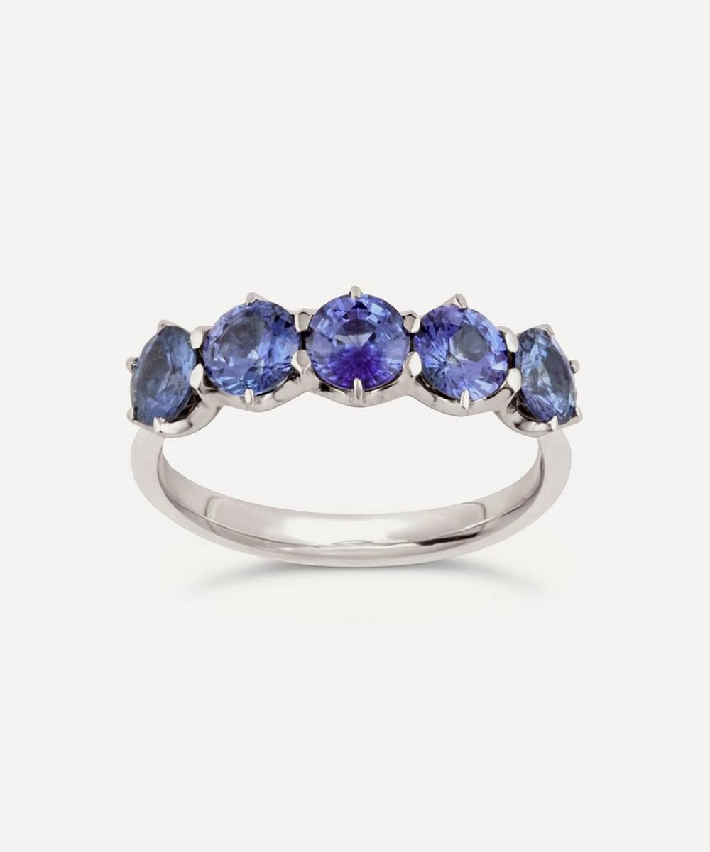 Dinny Hall - White Gold Elyhara Blue Sapphire Five Stone Ring