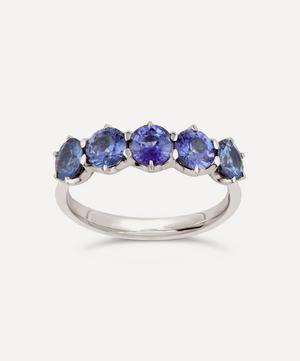 White Gold Elyhara Blue Sapphire Five Stone Ring
