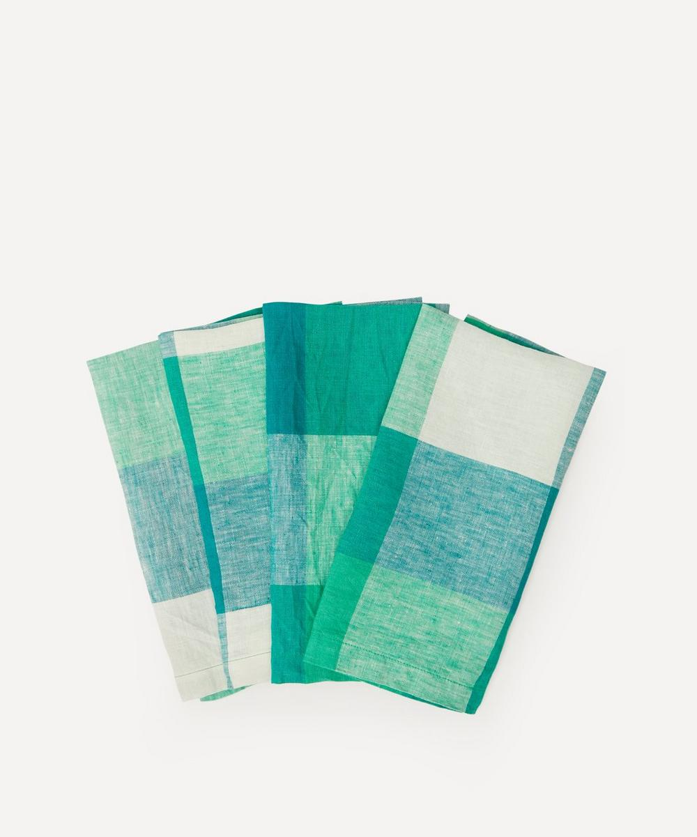 Society of Wanderers - Apple Green Check Napkins Set of Four