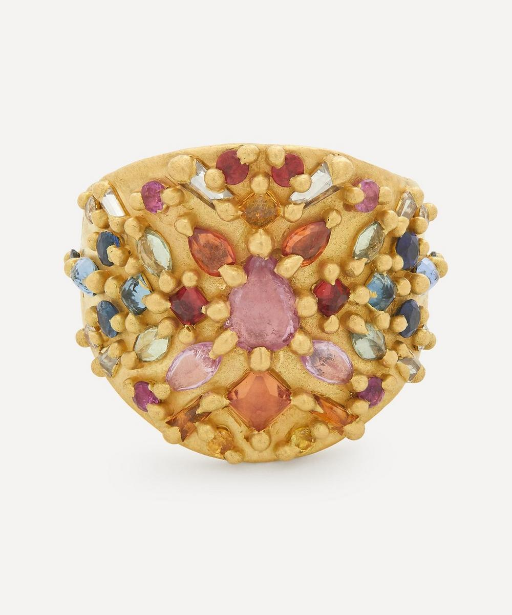 Polly Wales - Gold Orinoco Rainbow Sapphire and Diamond Shield Ring
