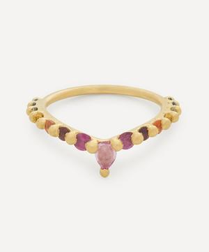 Gold Danube Rainbow Sapphire V Ring