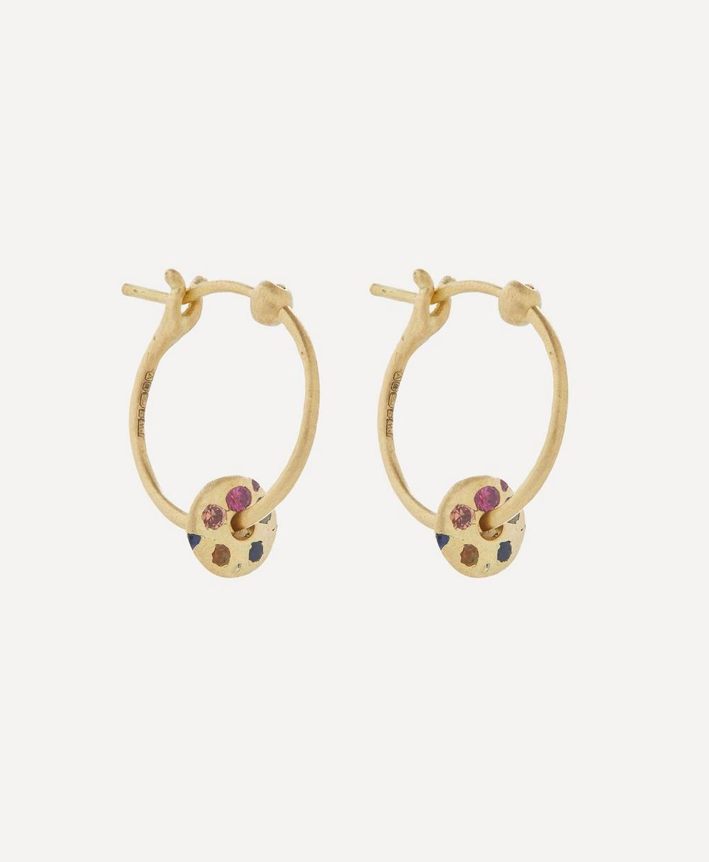 Polly Wales - Gold Mini Rainbow Sapphire Spinner Hoop Earrings