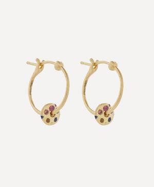 Gold Mini Rainbow Sapphire Spinner Hoop Earrings