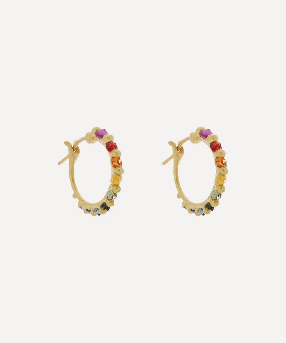 Polly Wales - Gold Polaris Rainbow Sapphire Hoop Earrings image number 0