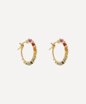 Gold Polaris Rainbow Sapphire Hoop Earrings