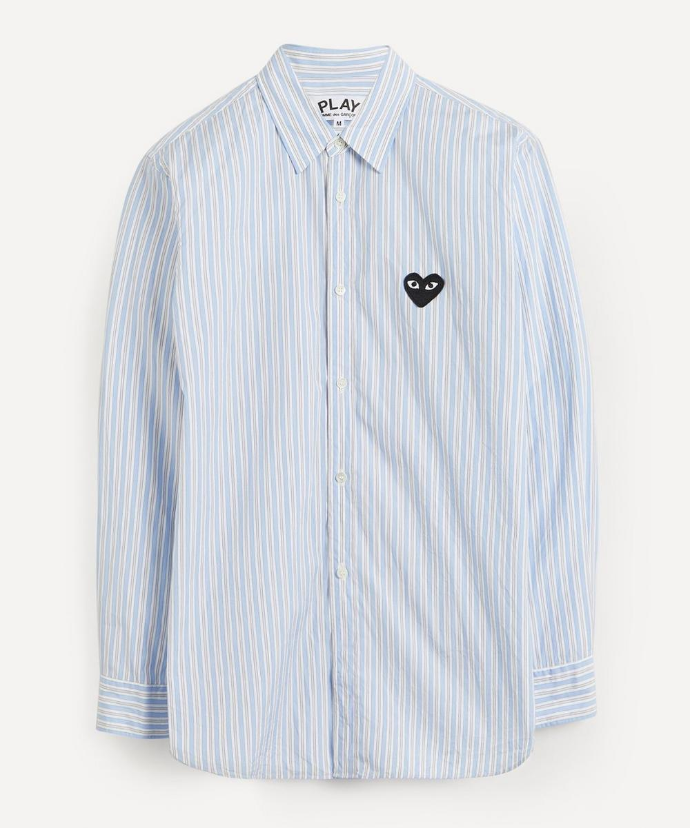Comme des Garçons Play - Heart Logo Patch Striped Cotton Shirt