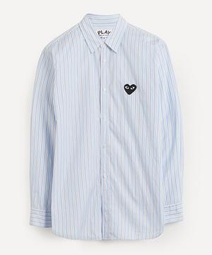 Heart Logo Patch Striped Cotton Shirt