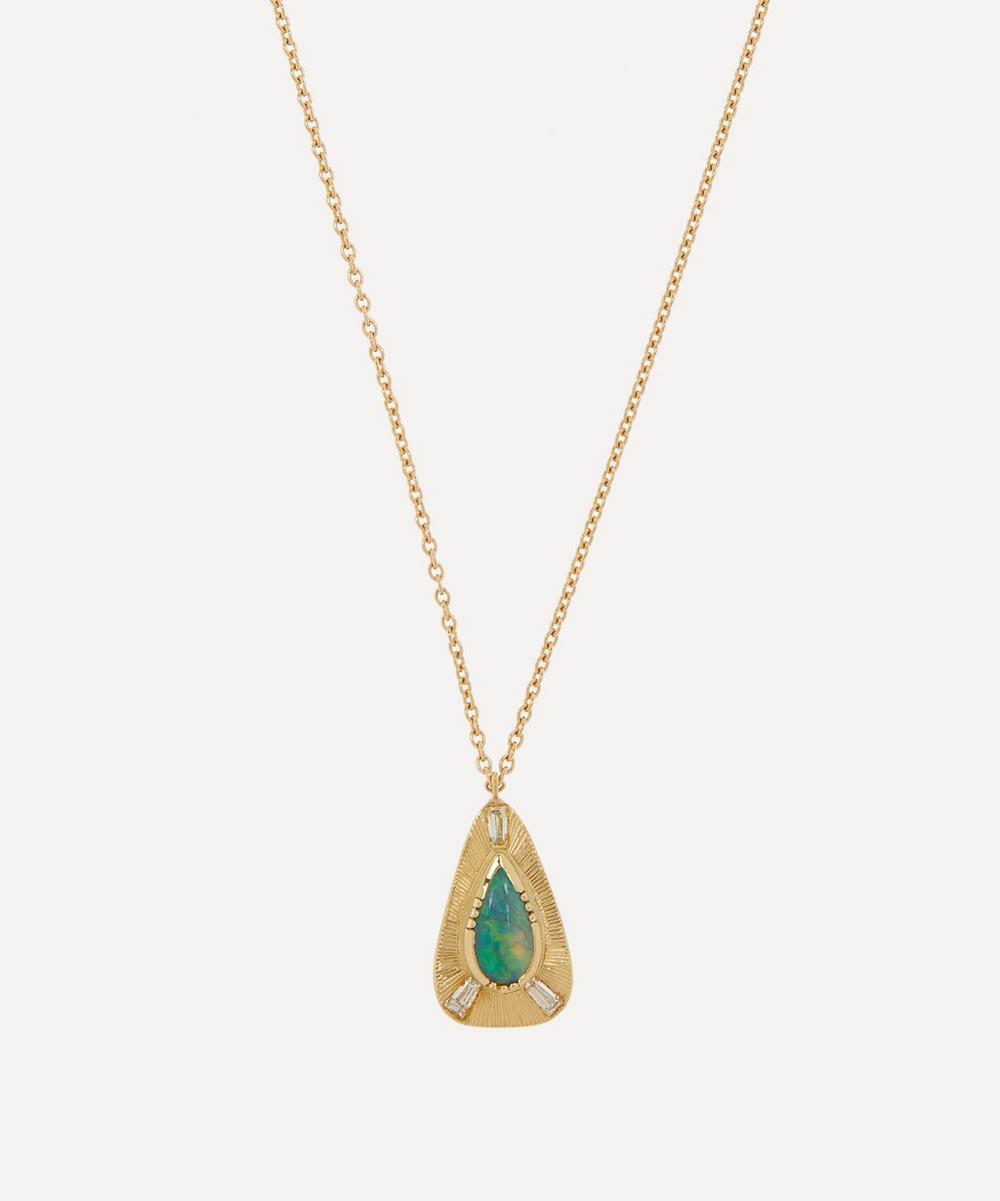 Brooke Gregson - Gold Boulder Opal Engraved Teardrop Pendant Necklace