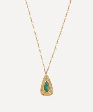 Gold Boulder Opal Engraved Teardrop Pendant Necklace