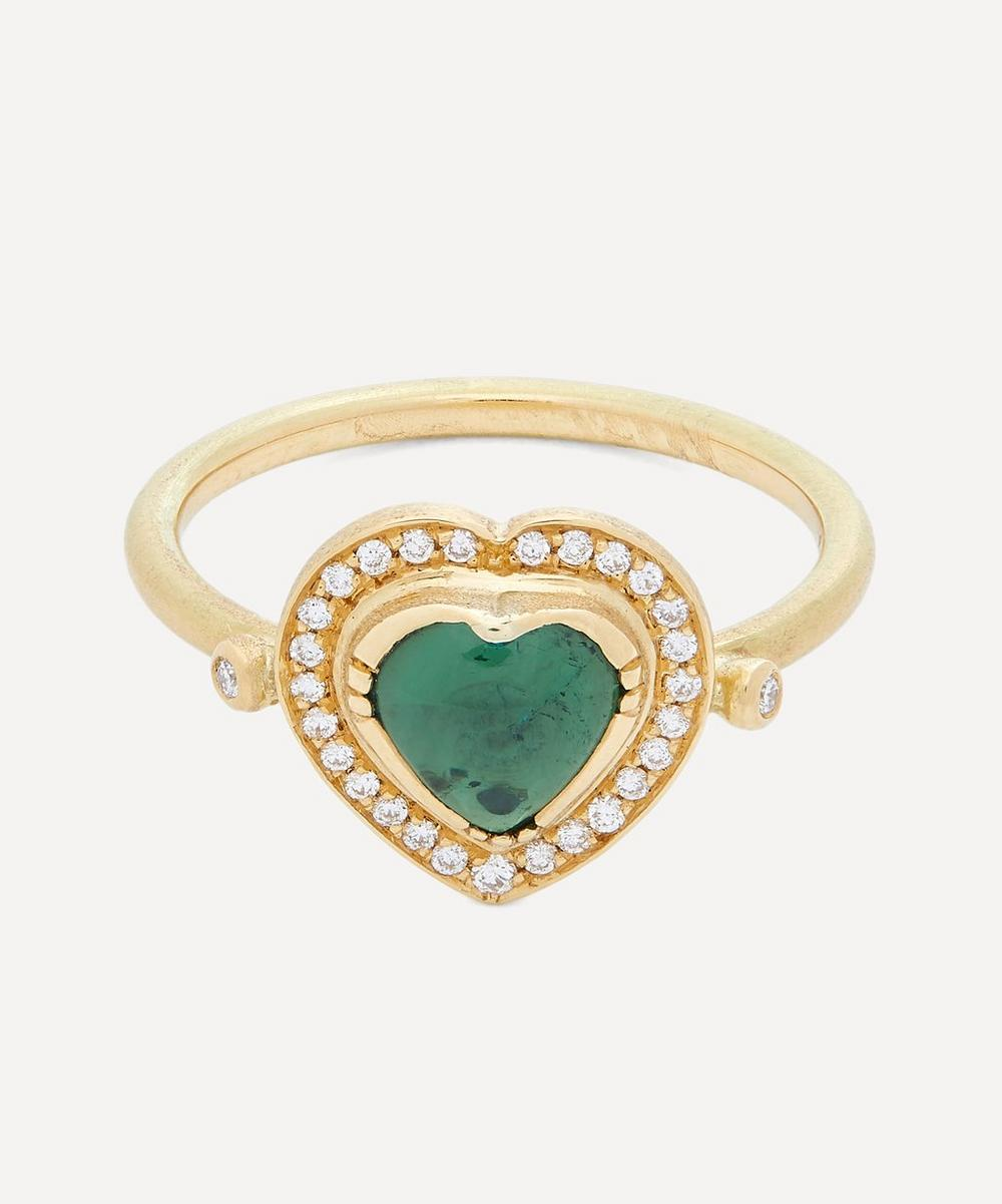 Brooke Gregson - Gold Green Tourmaline and Diamond Heart Ring
