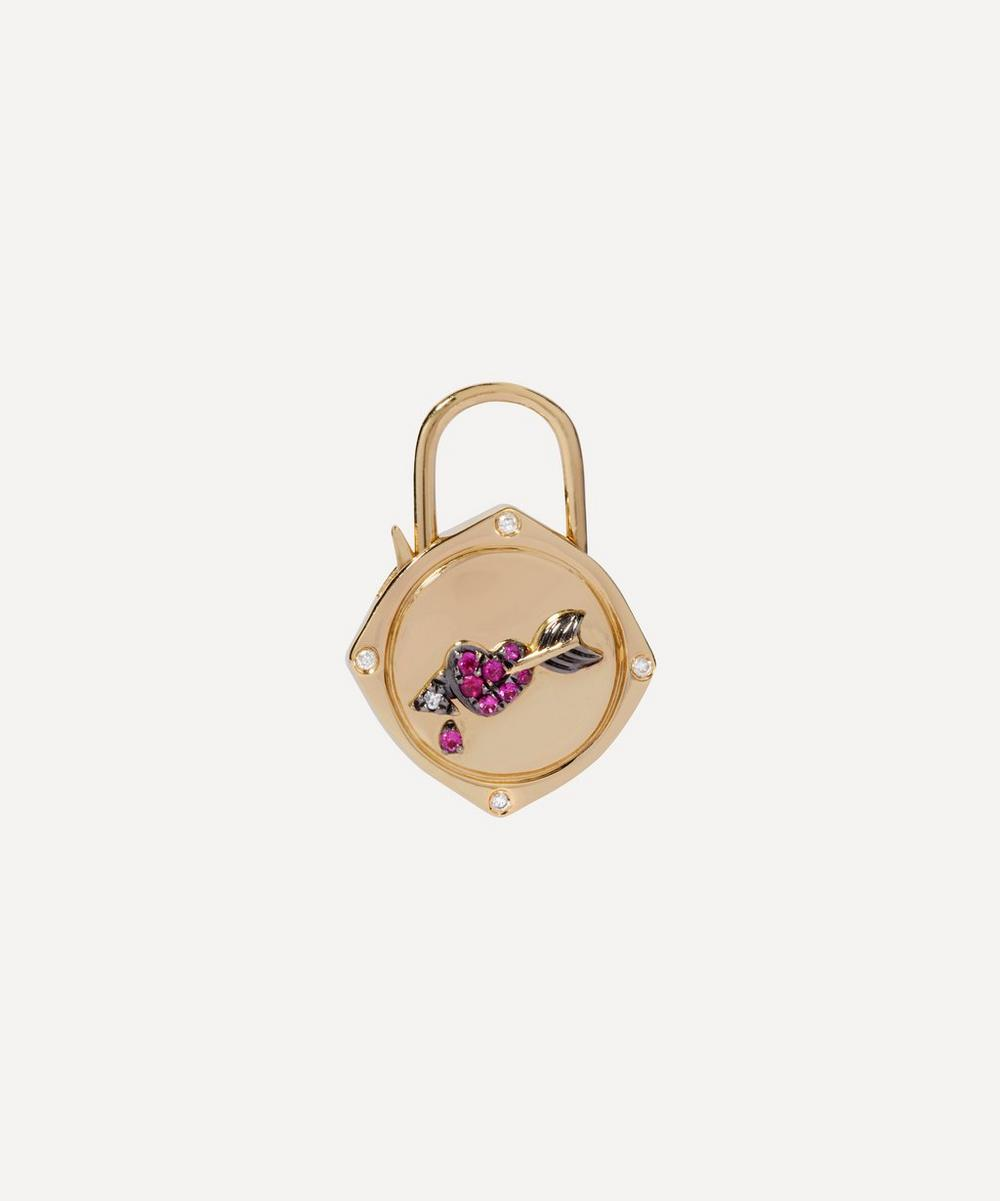 Annoushka - 18ct Gold Lovelock Sapphire and Diamond Heart and Arrow Charm
