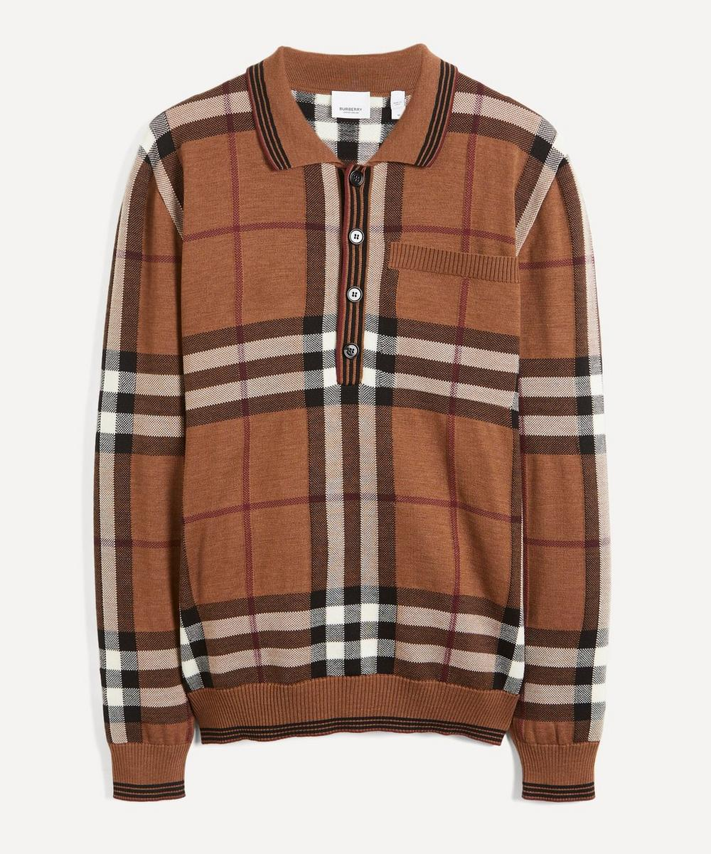 Burberry - Check Wool Knit Polo-Shirt