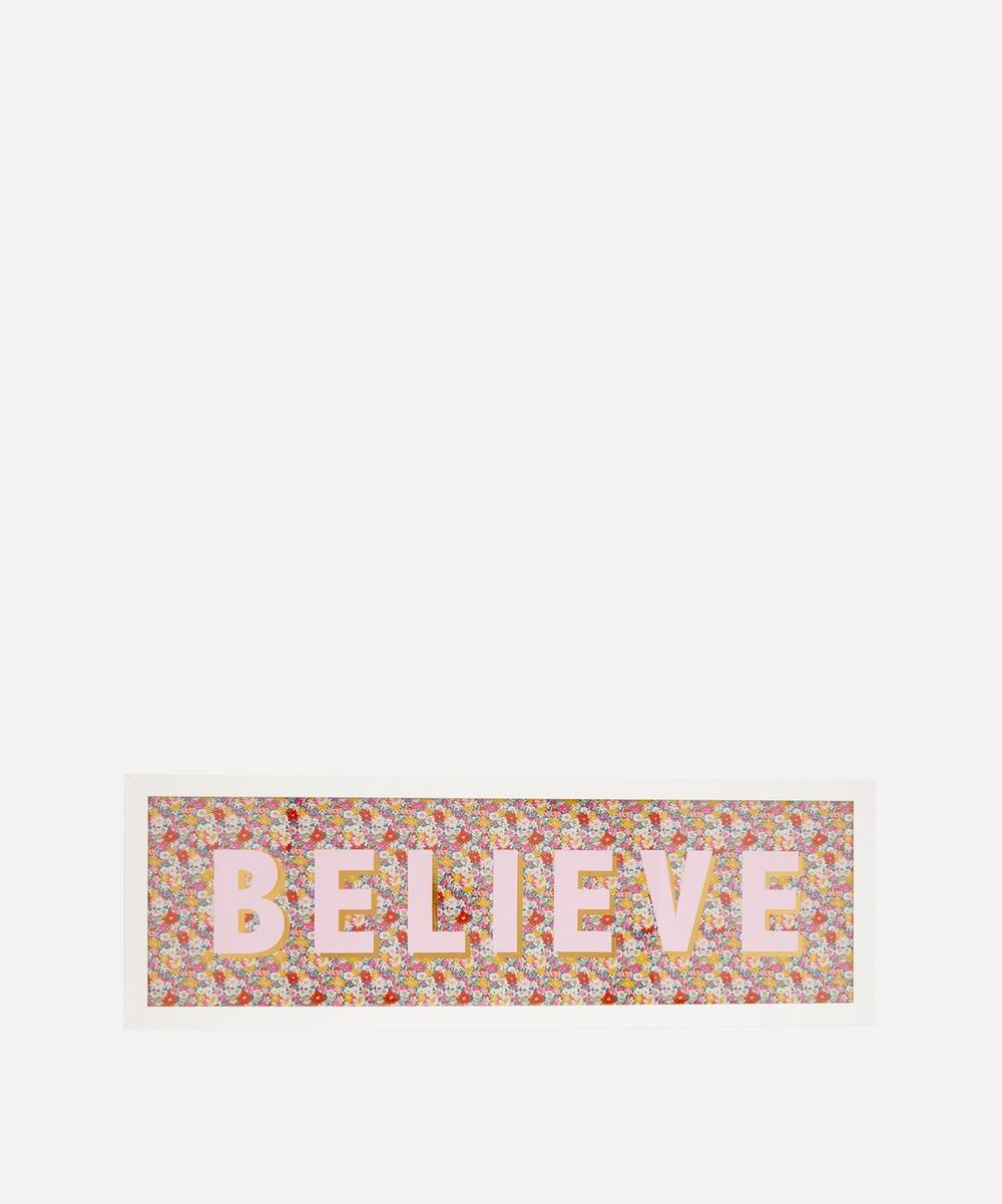 Catherine Colebrook - Believe Liberty Fabric Framed Print