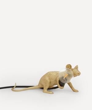Gold Lying Down Mouse Lamp