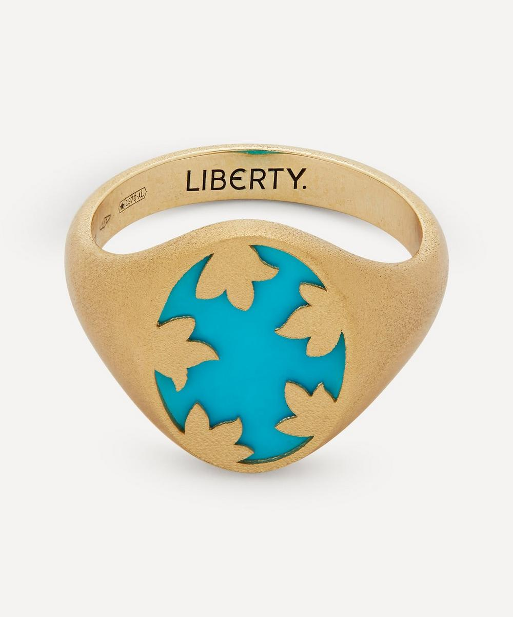 Liberty - Gold Betty Signet Ring with Turquoise Stone