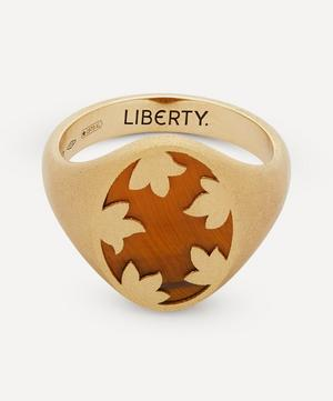 Gold Betty Signet Ring with Tiger's Eye Stone