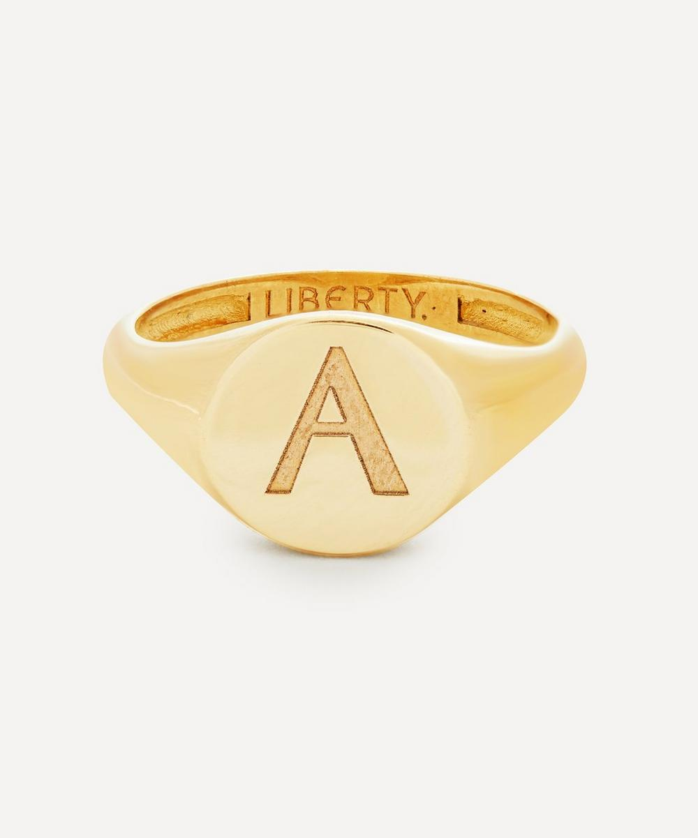 Liberty - Gold Initial Liberty Signet Ring - A
