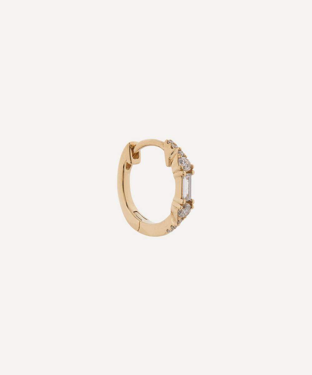Roxanne First - Gold Baguette Diamond Hoop Earring