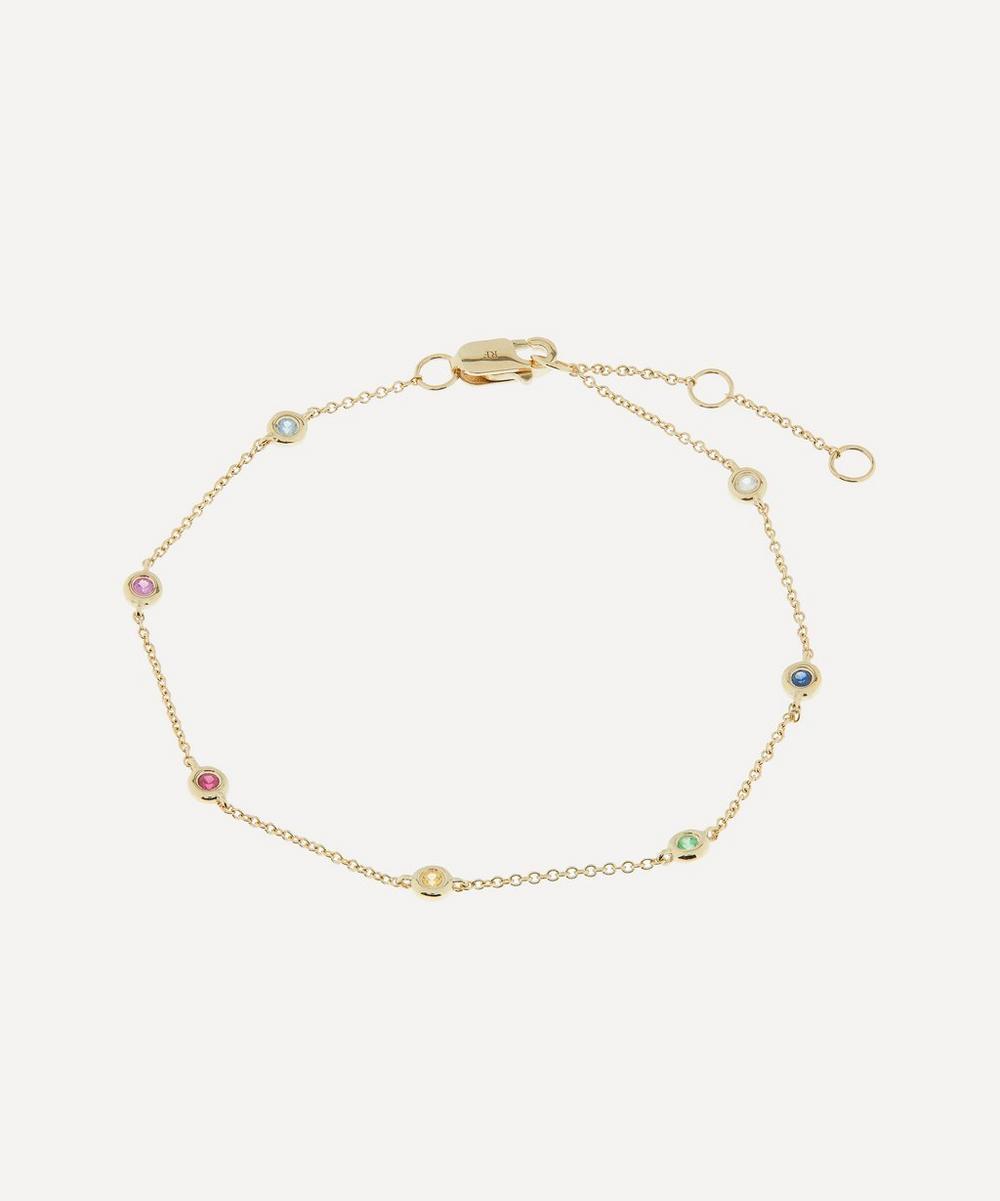 Roxanne First - Gold Skittle Rainbow Sapphire Bracelet