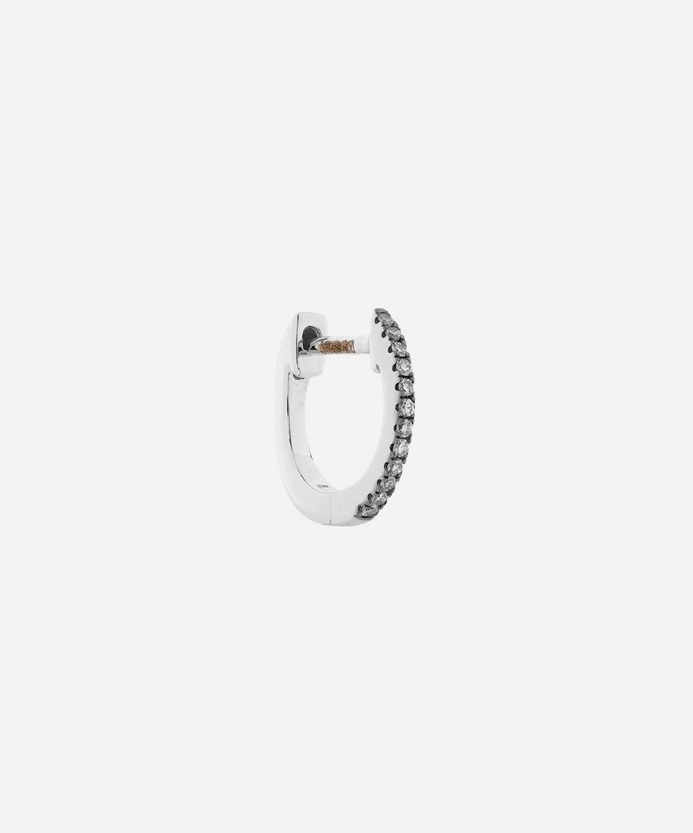 Roxanne First - Mini Rhodium White Gold Diamond Huggie Hoop Earring image number 0
