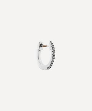 Mini Rhodium White Gold Diamond Huggie Hoop Earring