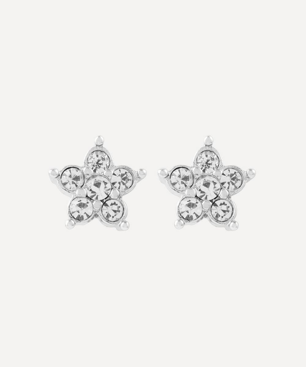 Susan Caplan Vintage - Rhodium-Plated 1980s Nina Ricci Crystal Flower Clip-On Stud Earrings