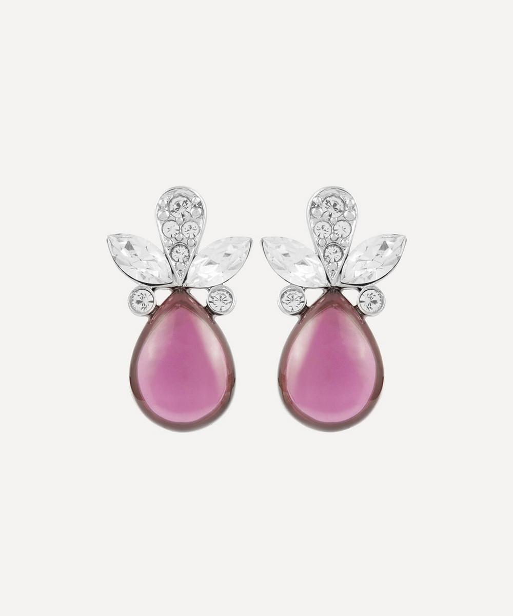 Susan Caplan Vintage - Rhodium-Plated 1990s Nina Ricci Crystal and Amethyst Cabochon Clip-On Earrings