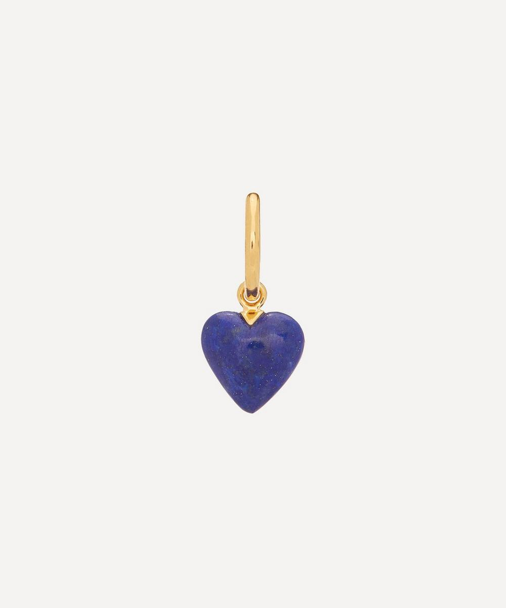 Theodora Warre - Gold-Plated Lapis Lazuli Heart Single Hoop Earring