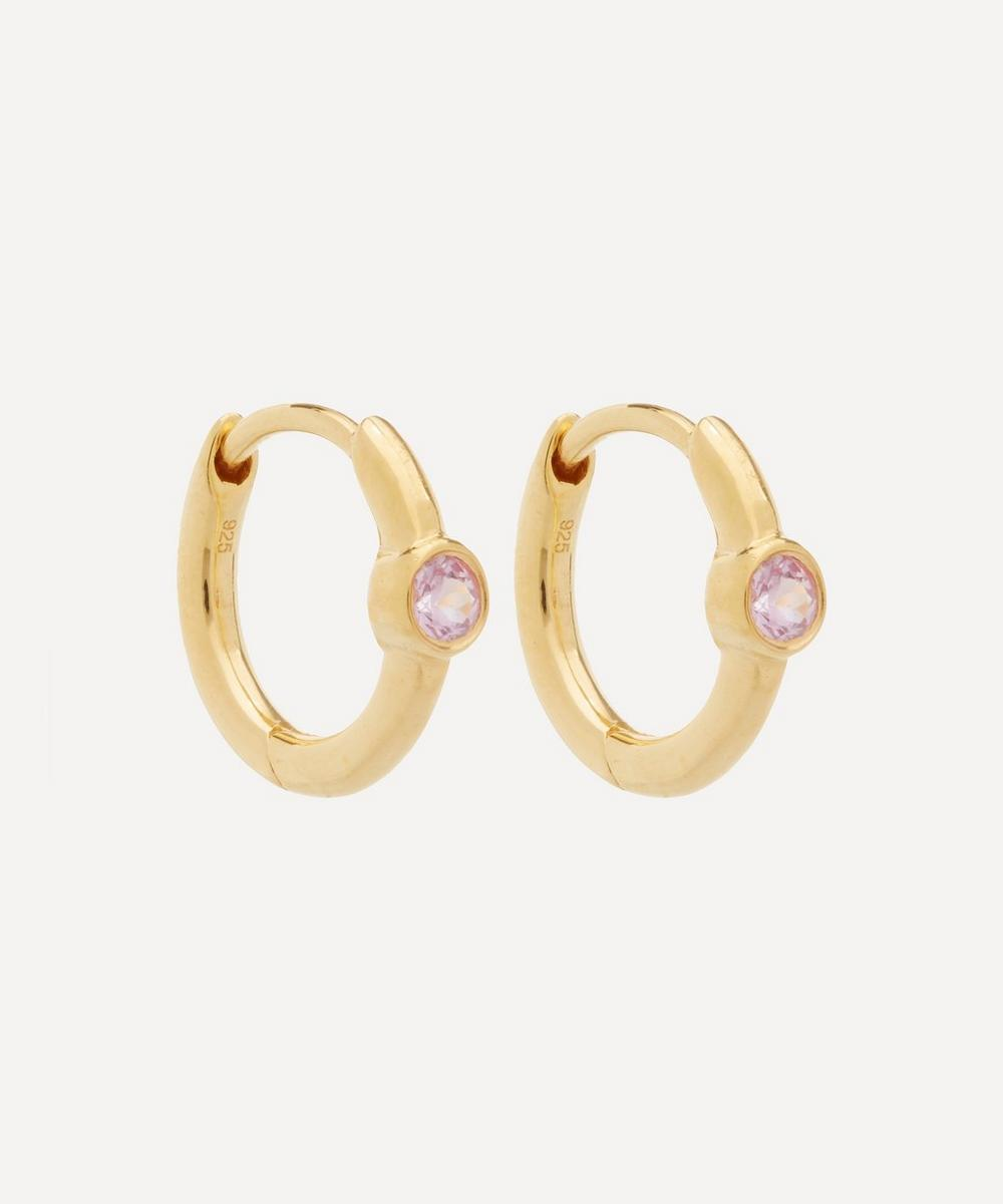 Theodora Warre - Gold-Plated Pink Sapphire Cuff Hoop Earrings