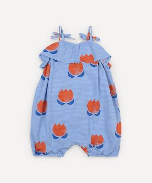 Chocolate Flowers Woven Romper 3-24 Months