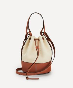 Balloon Leather and Canvas Bucket Bag